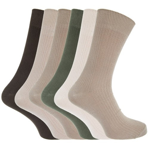 Front - Mens Bamboo Super Soft Breathable Ribbed Socks (Pack Of 6)