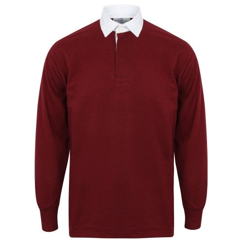 Front - Front Row Long Sleeve Classic Rugby Polo Shirt