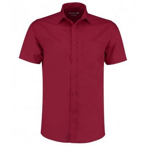 Front - Kustom Kit Mens Short Sleeve Tailored Poplin Shirt
