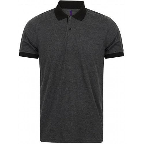 Front - Henbury Mens Contrast Tri-Blend Jersey Polo Shirt