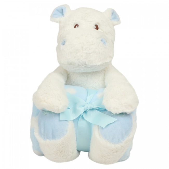 Front - Mumbles Hippo With Printed Fleece Blanket