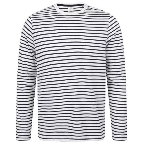 Front - Skinni Fit Unisex Long Sleeve Striped T-Shirt