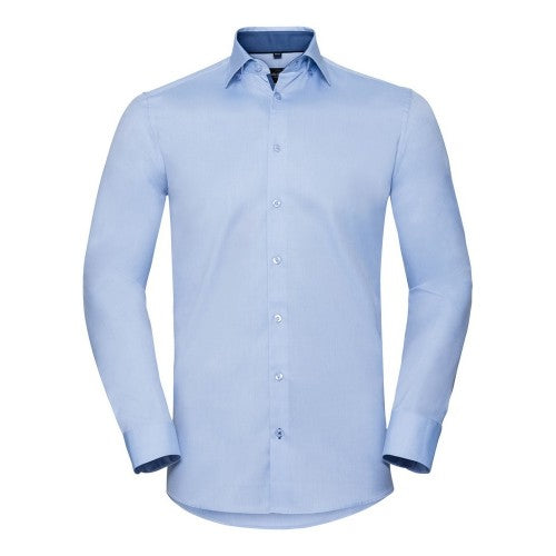Front - Russell Collection Mens Long Sleeve Contrast Herringbone Shirt