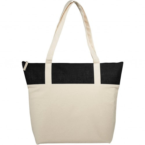 Front - Bullet Jute And Cotton Zippered Tote