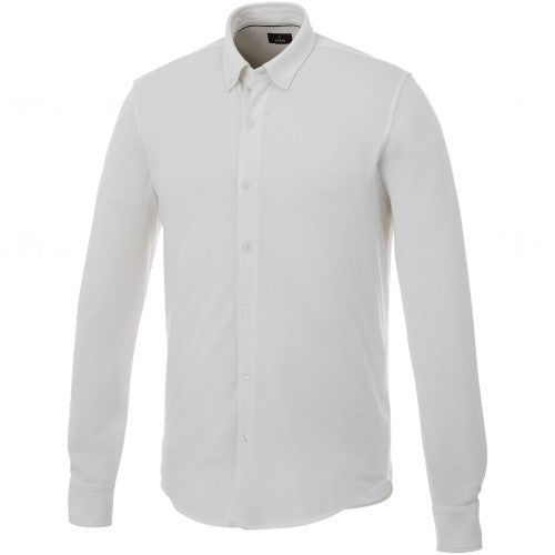 Front - Elevate Mens Bigelow Long Sleeve Pique Shirt