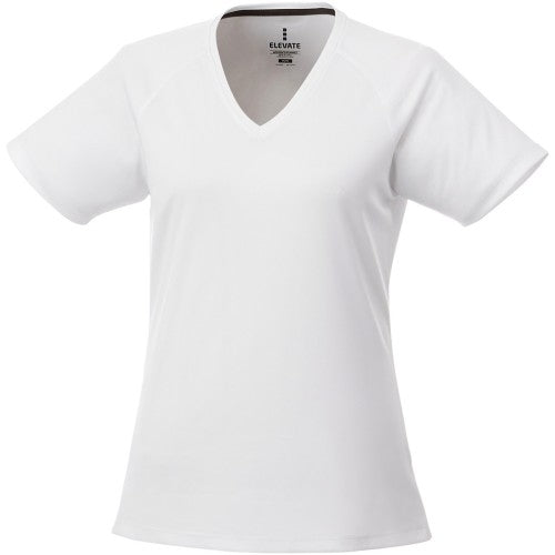Front - Elevate Womens/Ladies Amery Short Sleeve Cool Fit V-Neck T Shirt
