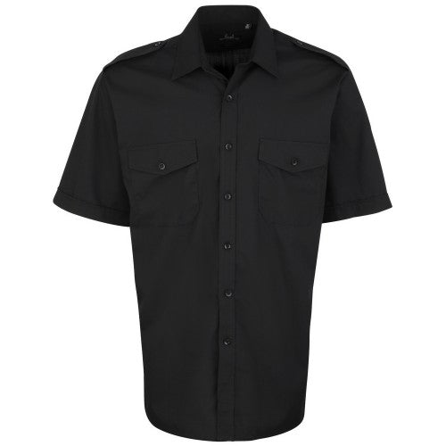 Front - Premier Mens Short Sleeve Pilot Plain Work Shirt