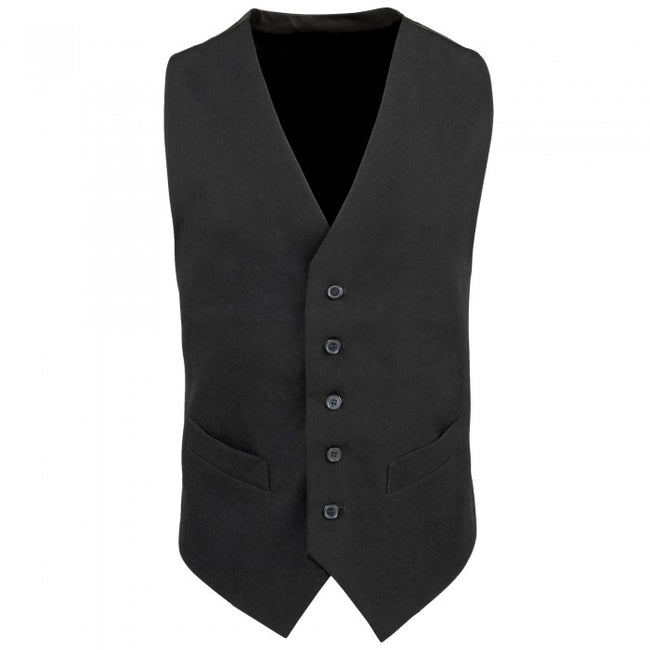 Front - Premier Mens Lined Polyester Waistcoat / Catering / Bar Wear