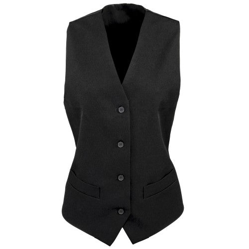 Front - Premier Womens/Ladies Lined Polyester Waistcoat / Bar Wear / Catering