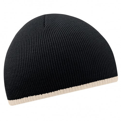 Front - Beechfield Unisex Two-Tone Knitted Winter Beanie Hat