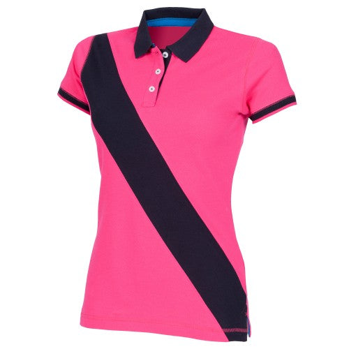 Front - Front Row Womens/Ladies Diagonal Stripe House Slim Fit Polo Shirt