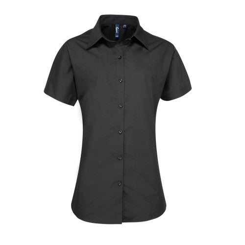 Front - Premier Womens/Ladies Supreme Heavy Poplin Short Sleeve Work Shirt