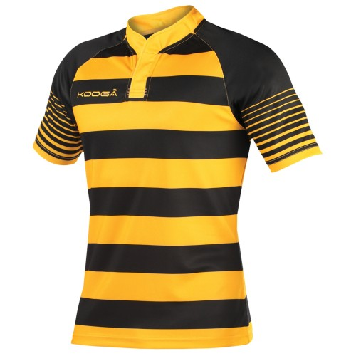Front - KooGa Boys Junior Touchline Hooped Match Rugby Shirt