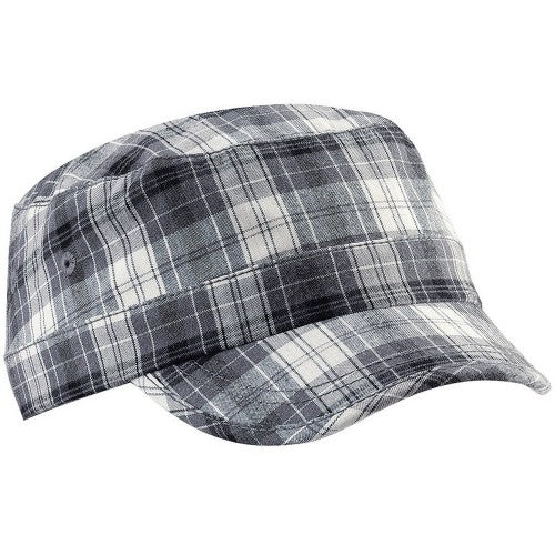Front - Beechfield Unisex Plaid Cadet Army Cap