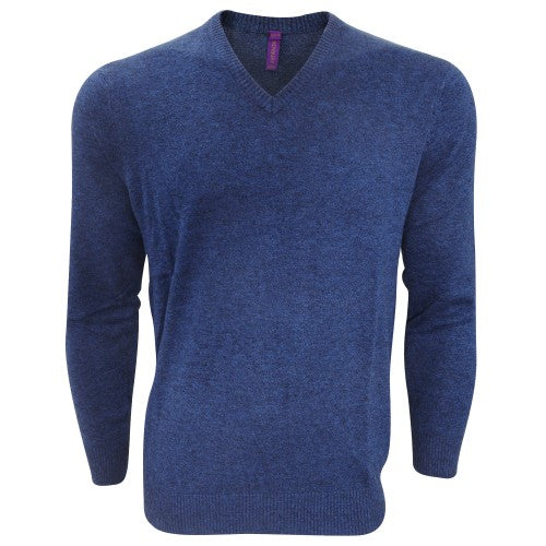 Front - Henbury Mens V-Neck Tri-Blend Marl Sweater/Jumper