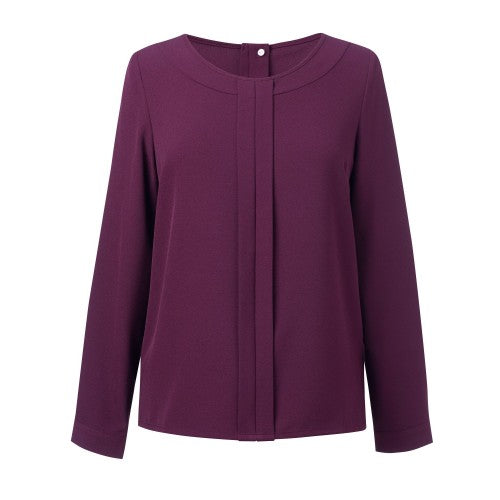 Front - Brook Taverner Womens/Ladies Roma Crepe De Chine Long Sleeved Blouse