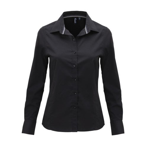 Front - Premier Womens/Ladies Long Sleeve Fitted Friday Shirt