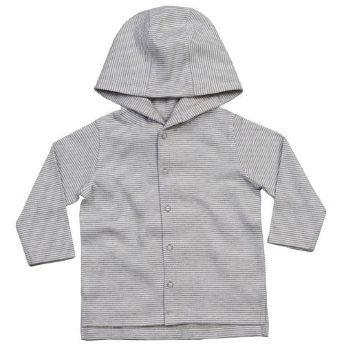 Front - Babybugz Baby Stripy Hooded T-Shirt