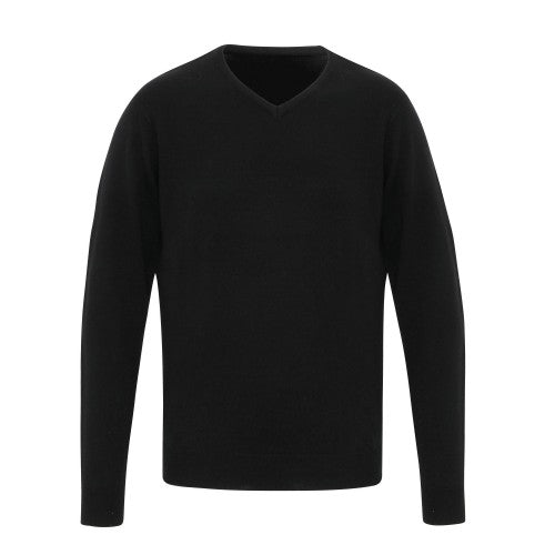 Front - Premier Mens Essential Acrylic V-Neck Sweater