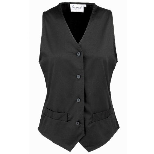 Front - Premier Womens/Ladies Hospitality Waistcoat / Catering / Barwear (Pack of 2)