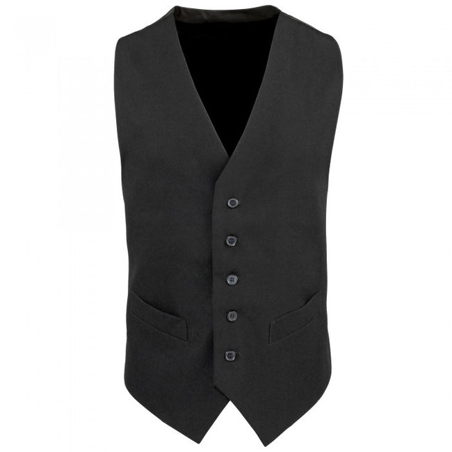 Front - Premier Mens Lined Polyester Waistcoat / Catering / Bar Wear (Pack of 2)