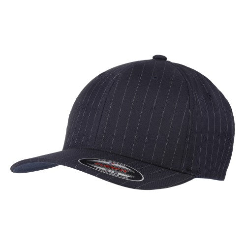 Front - Yupoong Flexfit Unisex Pinstripe Baseball Cap (Pack of 2)