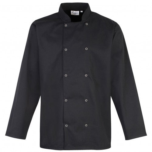 Front - Premier Studded Front Long Sleeve Chefs Jacket / Chefswear (Pack of 2)