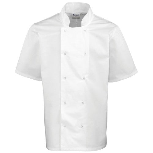 Front - Premier Unisex Studded Front Short Sleeve Chefs Jacket (Pack of 2)