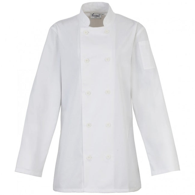Front - Premier Womens/Ladies Long Sleeve Chefs Jacket / Chefswear (Pack of 2)