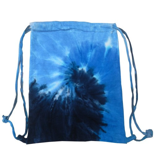 Front - Colortone Tie Dye Sports Drawstring Tote Bag (Pack of 2)