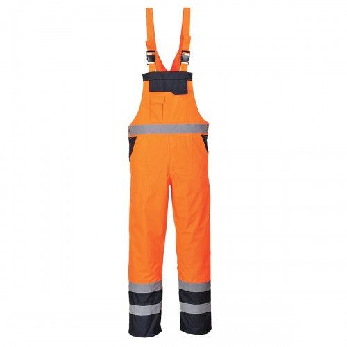 Front - Portwest Unisex Contrast Hi Vis Bib And Brace Coveralls - Unlined (S488) / Workwear (Pack of 2)