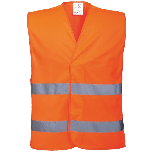Front - Portwest Unisex High Visibility Two Band Safety Work Vest (Pack of 2)