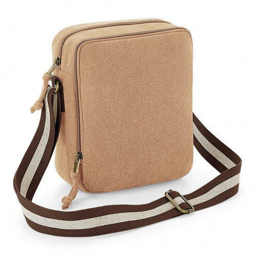 Front - Quadra Vintage Canvas Mini Reporter Bag