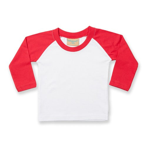 Front - Larkwood Baby Long Sleeved Baseball T-Shirt