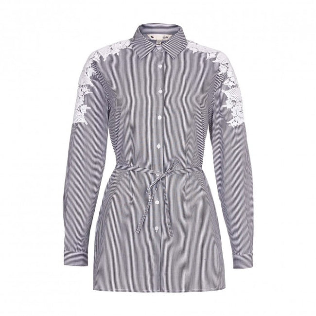 Front - Yumi Womens/Ladies Embroidered Shirt Dress