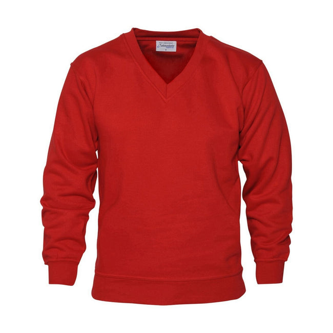 Red - Front - Absolute Apparel Mens V Neck Sweat