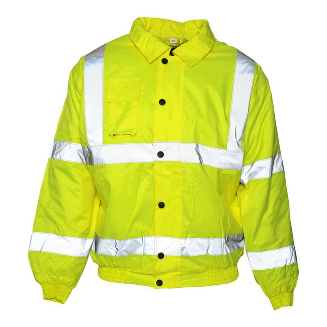 Saturn Yellow - Front - Absolute Apparel Mens Hi Viz Bomber Jacket