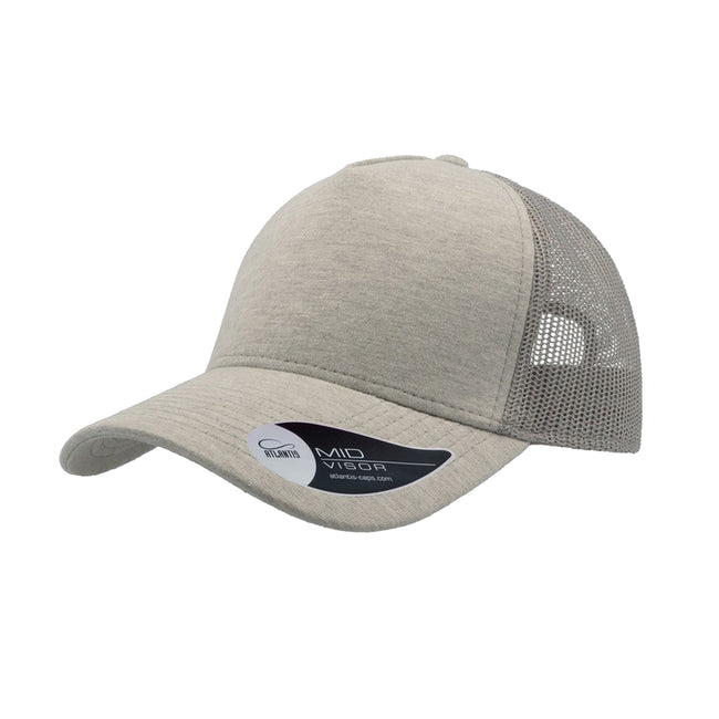 Light Grey - Front - Atlantis Rapper Jersey Mid Visor Trucker Cap