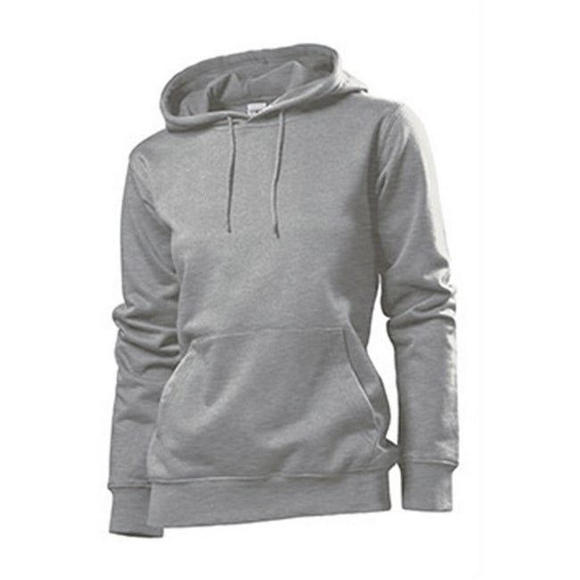 Heather Grey - Front - Stedman Womens-Ladies Hooded Sweat