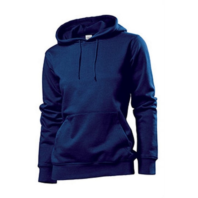 Navy - Front - Stedman Womens-Ladies Hooded Sweat