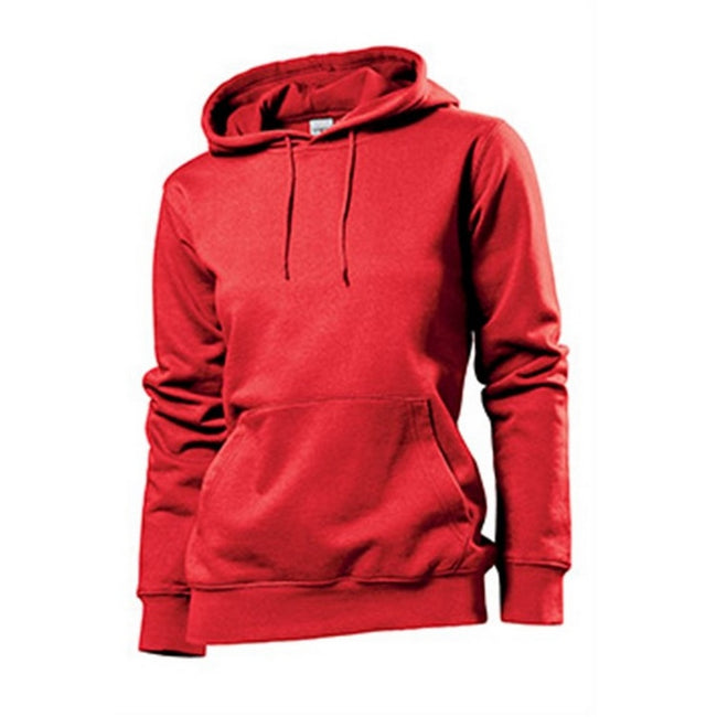 Scarlet Red - Front - Stedman Womens-Ladies Hooded Sweat