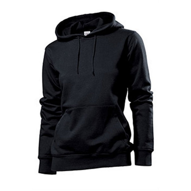 Black Opal - Front - Stedman Womens-Ladies Hooded Sweat