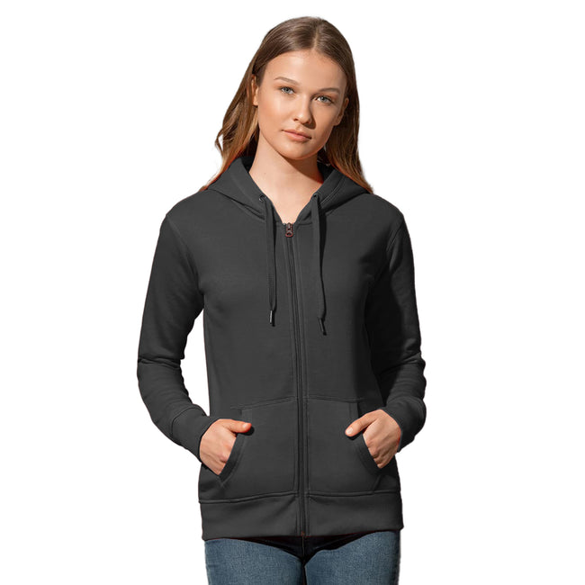 Blue Midnight - Front - Stedman Womens-Ladies Active Zip Hood