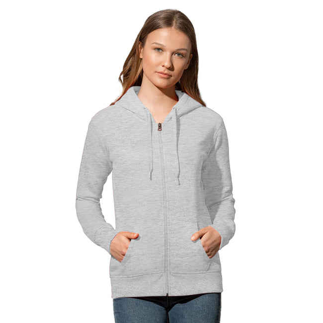 Hawaii Blue - Front - Stedman Womens-Ladies Active Zip Hood