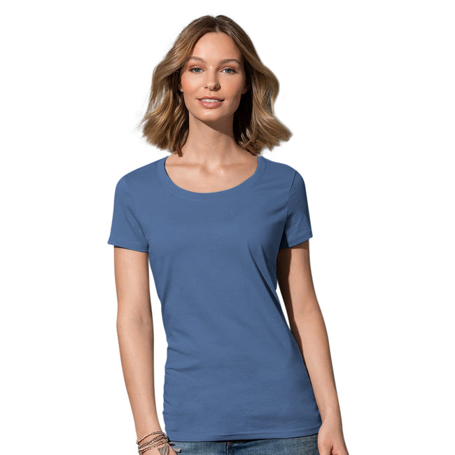 Soft Grey - Front - Stedman Womens-Ladies Janet Organic Crew Neck Tee
