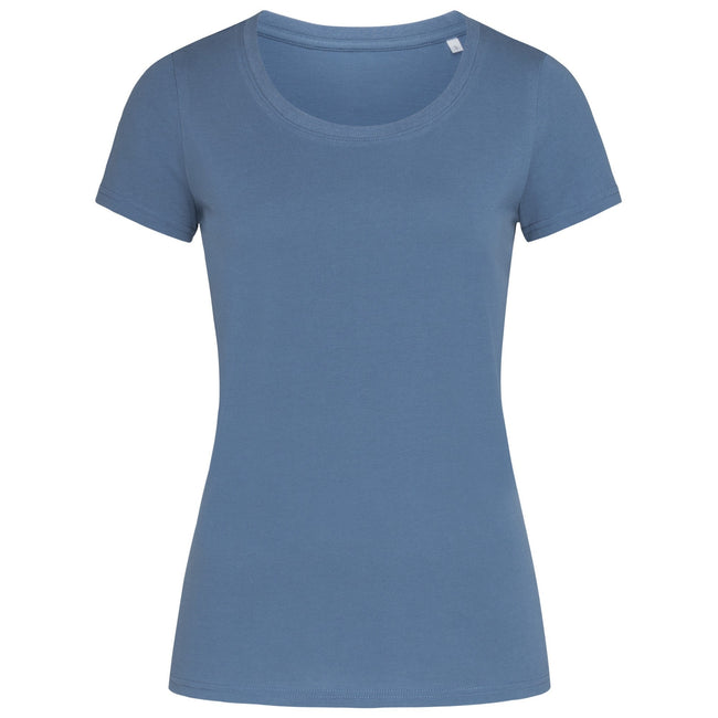 Denim Blue - Front - Stedman Womens-Ladies Janet Organic Crew Neck Tee