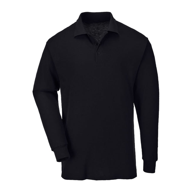Navy - Front - Casual Classic Mens Long Sleeve Polo