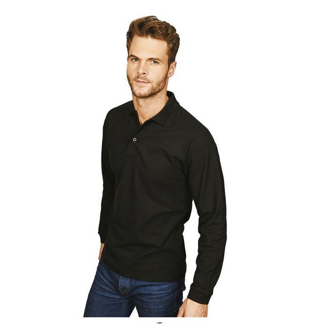 Black - Front - Casual Classic Mens Long Sleeve Polo