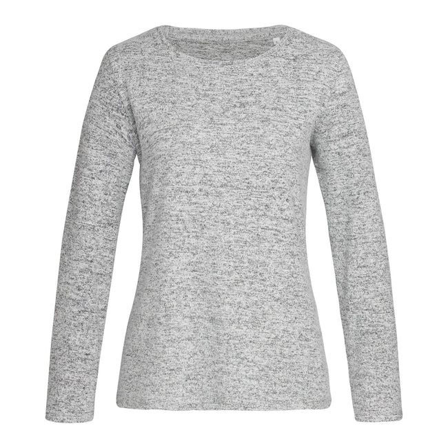 Light Grey Melange - Front - Stedman Womens-Ladies Stars Crew Neck Knitted Sweater