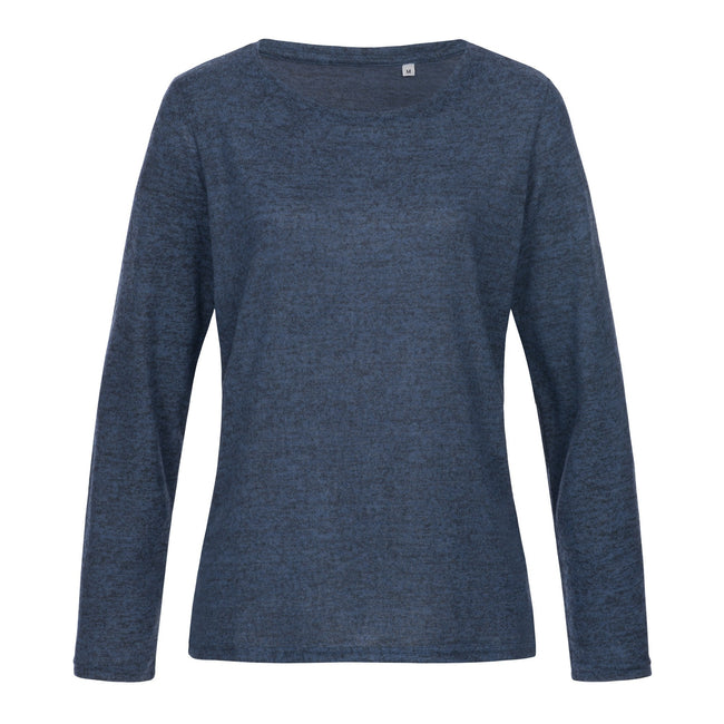 Marina Blue Melange - Front - Stedman Womens-Ladies Stars Crew Neck Knitted Sweater